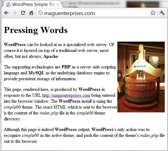 Simplest WordPress Theme