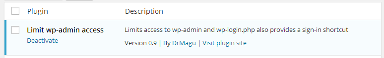 Limit wp-admin access - plugin